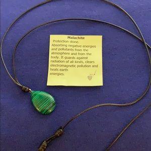 Natural Malachite Tear Drop Shape Necklace